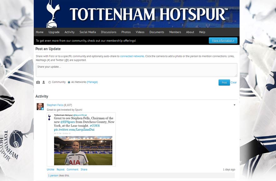 Tottenham Hotspur Football Club - Follr Fan Photo Activity